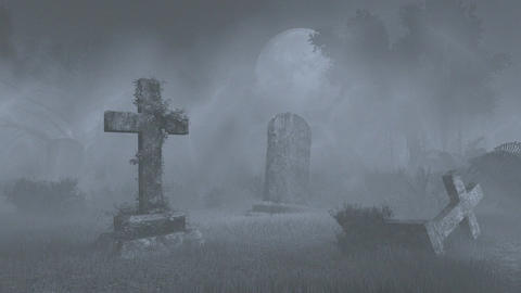 Full moon above old spooky cemetery. Monochrome Footage