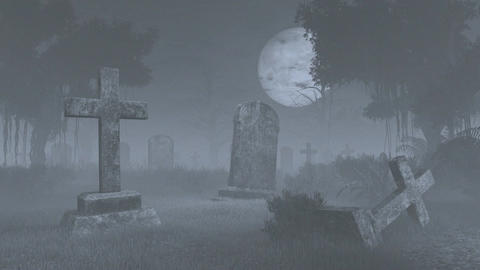 Creepy Old Graveyard Under Big Full Moon. Time Lapse stock footage