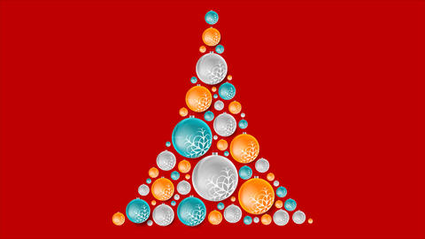 Bright abstract fir tree from Christmas balls video animation Animation