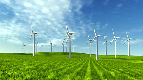 Windmills on a green hills at sunny day Footage