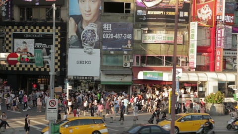 Crowds walking out of Ximending MRT station WS 2 Footage