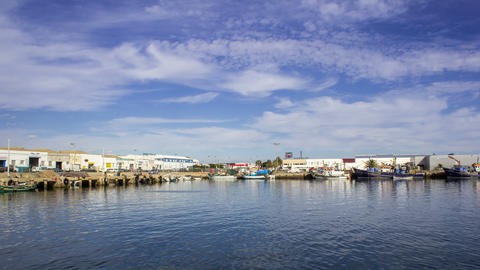4K Pan Time Lapse in Olhao Fishing Port, Algarve Footage
