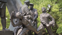 Sculpture Group At Longhua Revolutionary Martyrs' Cemetery In Shanghai stock footage