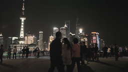 Shanghai Pudong Skyline Viewed from the Bund at Night Footage