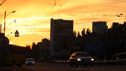 Road Traffic At Sunset stock footage