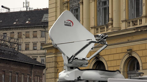 Satellite antenna on the car. 4K Live Action