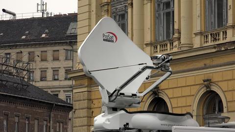 Satellite Antenna On The Car. 4K stock footage