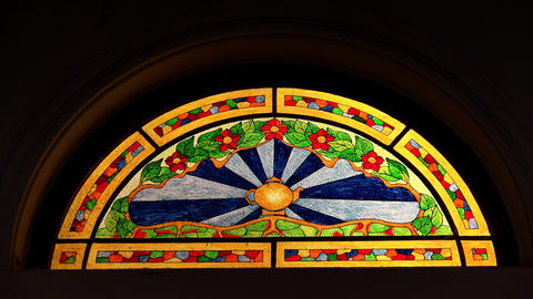 Colorful beautiful stained glass window. 4K Footage
