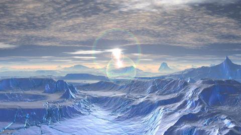 Sunrise and glare on the icy desert Animation