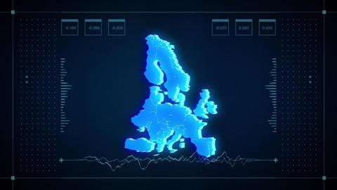Europe Hologram Map Animation