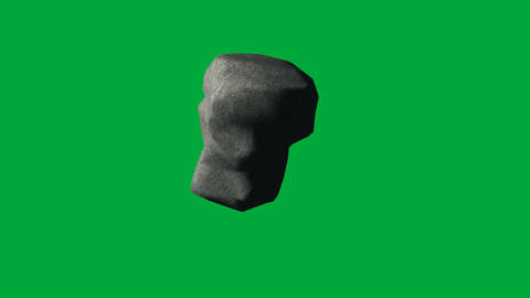 Tumbling Rock on Green Screen, Looping Animation