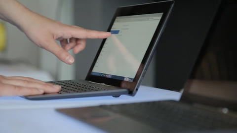 Closeup Of Business Woman Hand Typing On Laptop Keyboard stock footage
