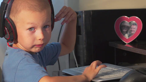 The Child At The Computer stock footage