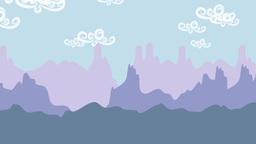 Cartoon animation of mountain scenery Footage