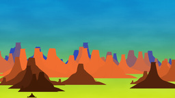 Cartoon Animation Of Mountain Scenery stock footage