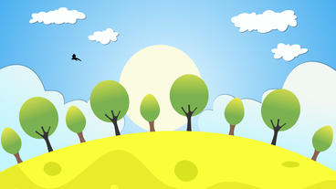 Cartoon environment Motion Animation including clouds sunrise birds and trees After Effects Template