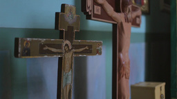 jesus christ a cross in Christian church Footage