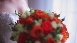 The Bride Holds A Wedding Bouquet Of Flowers 2 stock footage