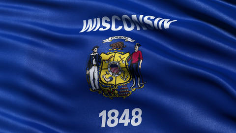 4K Wisconsin state flag seamless loop Ultra-HD Animation