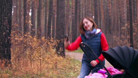 Mother Takes Selfie With The Child stock footage