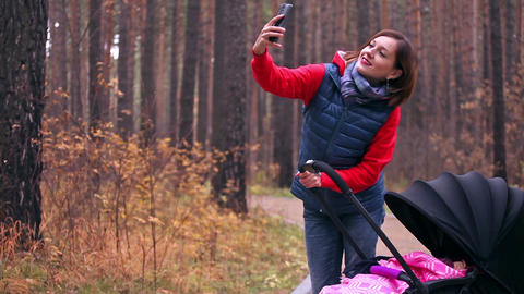 Mother takes selfie with the child Footage