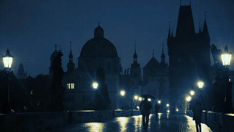 Rain on the Charles Bridge Footage