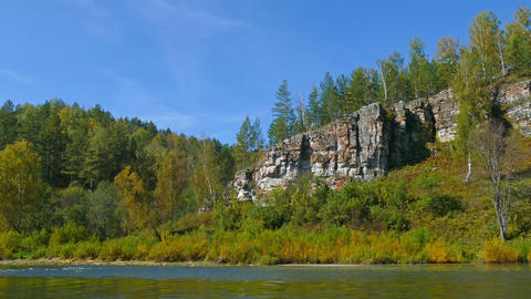 mountain Yuryuzan river landscape, South Ural Footage