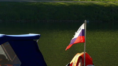 Russian flag on the boat Footage
