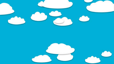 Random cartoon clouds floating Animation on blue background After Effects Template