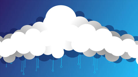 Long cartoon clouds floating animation After Effects Template