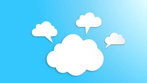 Motion Clouds animation on blue background After Effects Template