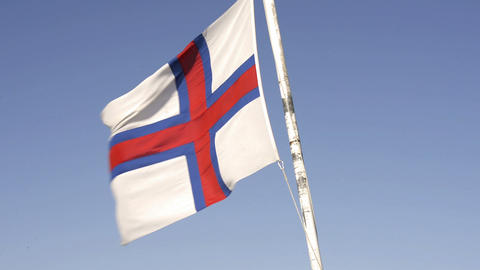 Flag Of The Faroe Islands Waving In The Wind stock footage