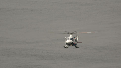 Atlantic airways helicopter flying towards Fugloy Footage
