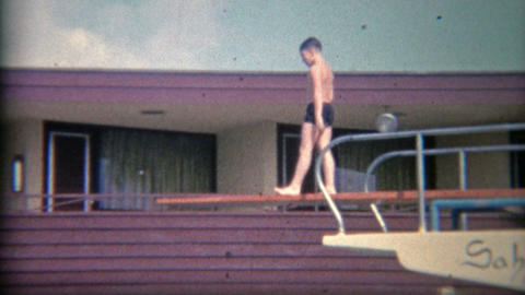 1956: High hotel diving board at the Sahara Miami Beach Hotel Live Action
