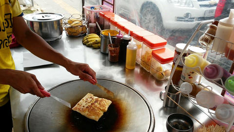 Cooking pancakes on the street Footage