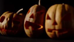 Three Evil Pumpkin For Halloween Soft Focus stock footage
