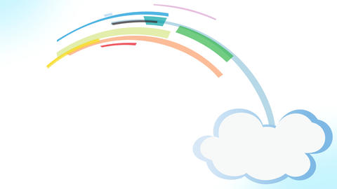 cartoon Clouds Rainbow Strips creation After Effects Template