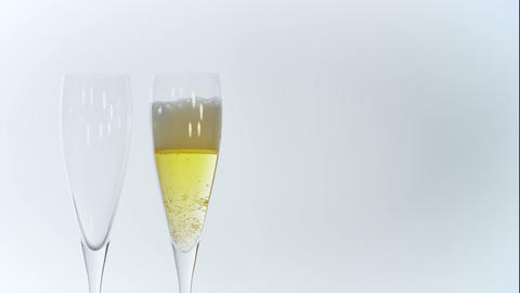 Man Pours A Couple Of Glasses Of Champagne stock footage