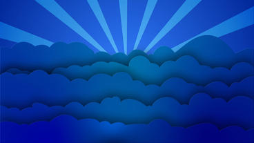 Blue cartoon Clouds waves with rotating sun rays After Effects Project