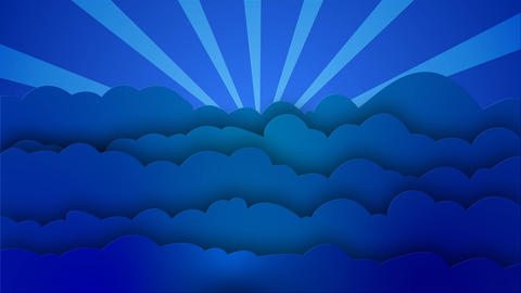Blue cartoon Clouds waves with rotating sun rays After Effects Template