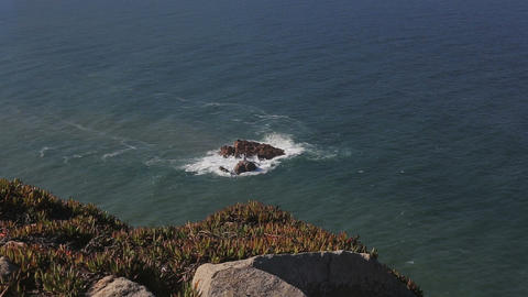Rocks and cliffs at Cabo da Roca Portugal stormy weather Footage