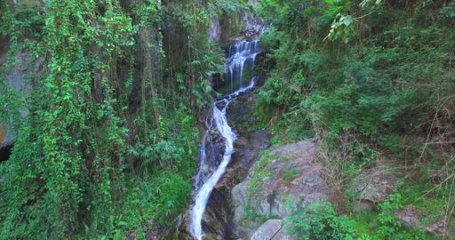 rising crane aerial Huay Kaew waterfalls Footage