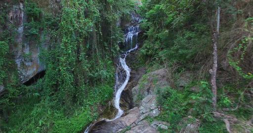 aerial flight away from huay kaew waterfalls Footage