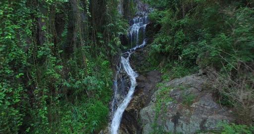close aerial towards huay kaew waterfalls Footage