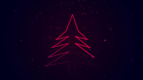 Shiny neon Merry Christmas tree loop with snowfall Animation