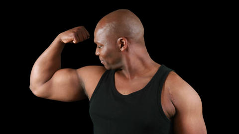 Muscular man with meat flexing muscles Footage
