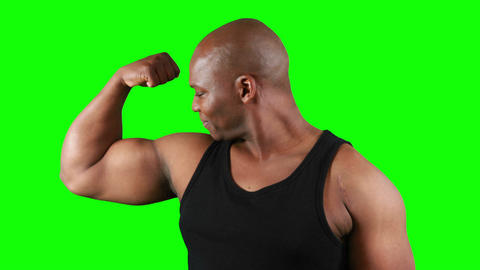 Muscular man with meat flexing muscles Live Action