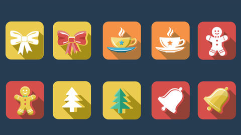 Xmas And New Year Flat Icons
