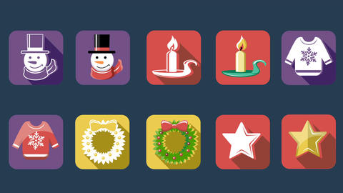 Xmas And New Year Flat Icons 2
