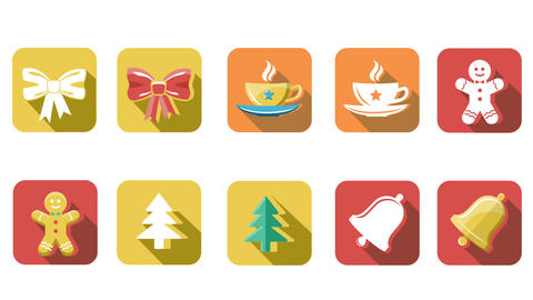 Animated Christmas and New Year Icons Animation